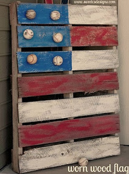 Use an old palette to create festive flag featuring baseballs