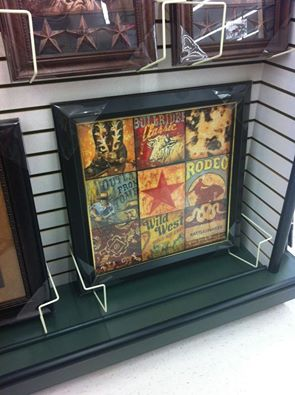 Aaron Christensen's Cowboy Collage Western Wall Art as framed by Hobby Lobby.