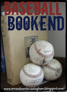 Bookends made from Vintage Baseballs