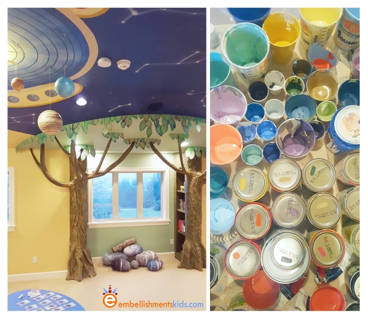 A tree reading nook for kids and a solar system mural by Aaron Christensen