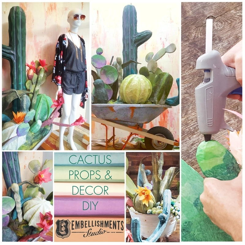 DIY - Create fun cactus decor.   Using kickboards and fun noodles for a summer window display