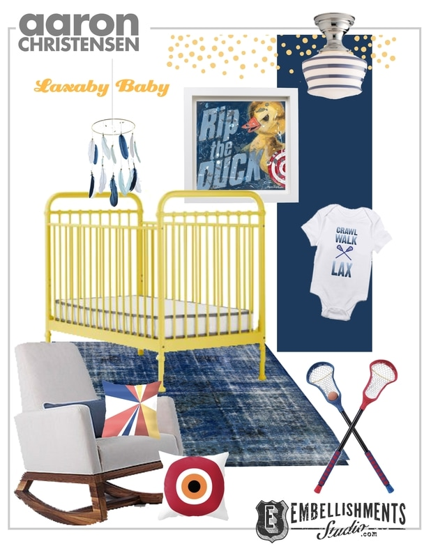 Lacrosse themed baby nursery ideas and inspiration by children's space designer and artist Aaron Christensen.