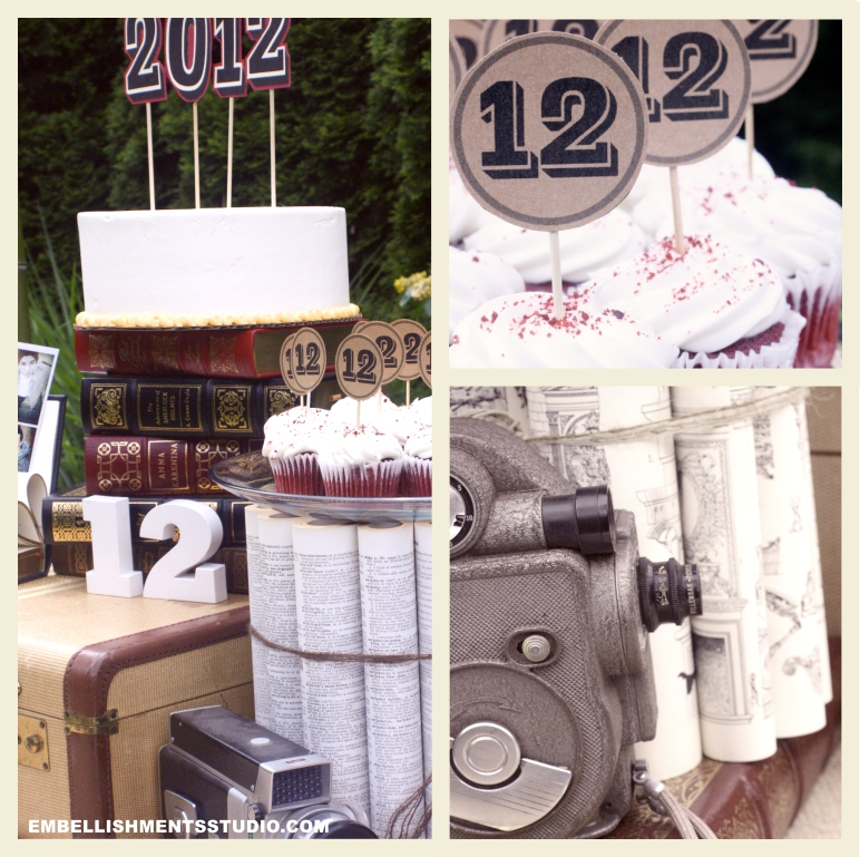 Graduation Party ideas using vintage goods.  Cake table ideas.