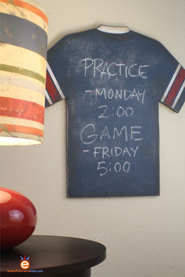 Vintage Sports DIY - Jersey Chalkboard by children's space designer Aaron Christensen.  DIY includes a chalkboard paint recipe.