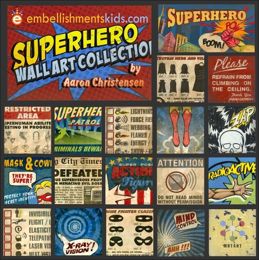 Superhero Wall Art Decor by Aaron Christensen Embellishments Kids