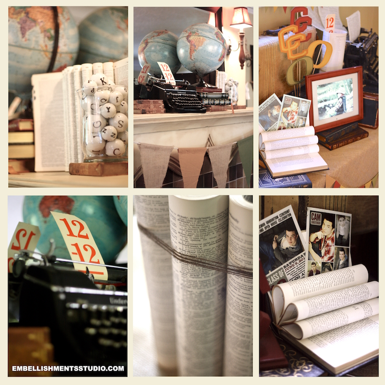 Graduation Party ideas using old books, globes, suitcases, props and more.