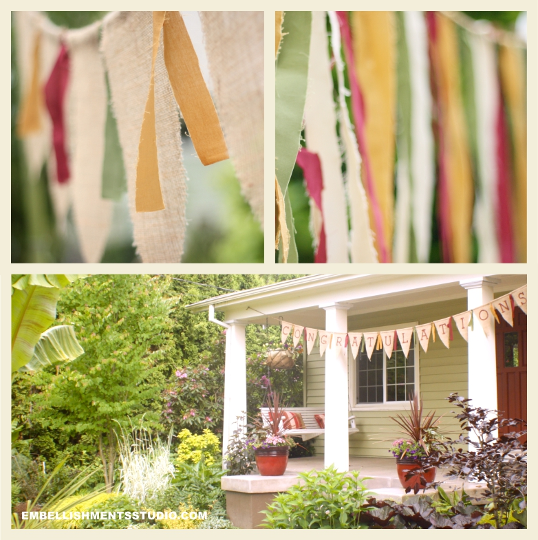 Decorations, pennants and burlap are used to create party supplies for a high school graduation.