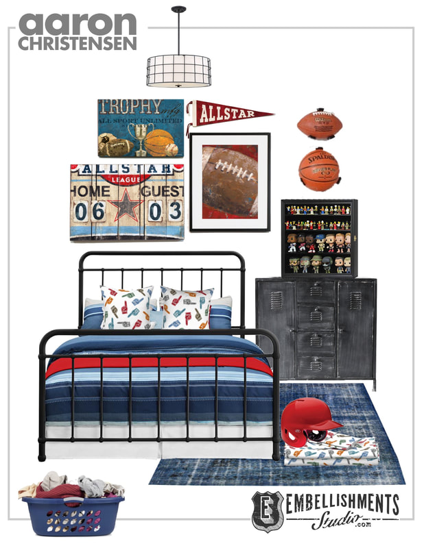 Allstar Sports Wall Art  Decor and Fabric by Aaron Christensen.  Sports ideas for boys, teens and tweens.