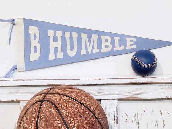 B Humble Felt Sports Pennants for the baby nursery, kids rooms, teen spaces and sports decor interiors by Aaron Christensen
