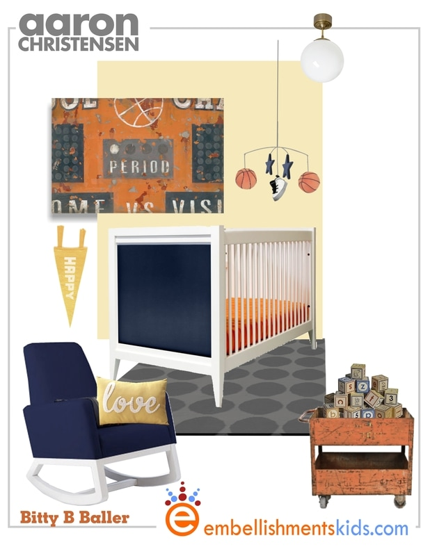 Vintage Sports Basketball Nursery Inspirational Mood Board Ideas and Art by Aaron Christensen