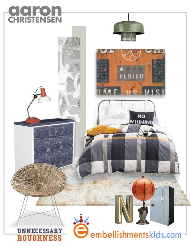 Vintage Sports Basketball Bedroom Inspiration and Art Mood Board by Aaron Christensen