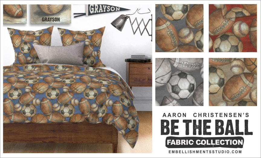 Sports Fabric, Bedding and Textiles for boys, teens and the nursery by Aaron Christensen