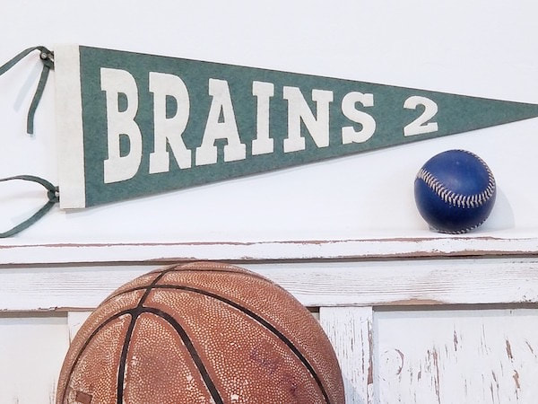 Brains 2 Felt Sports Pennants for the baby nursery, kids rooms, teen spaces and sports decor interiors by Aaron Christensen