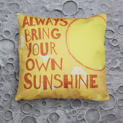 Boys Decorative Throw Pillow in a Space Theme - Always Bring Your Own Sunshine.  An inspirational quote pillow case.