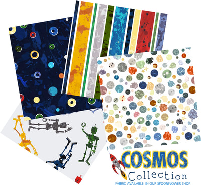 Space, Cosmos and Solar System Fabric Designs by Aaron Christensen.