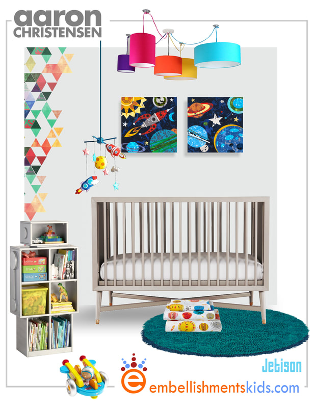 Ideas for a boys nursery in a space, rocket and planet theme by kids designer Aaron Christensen.  The boys room mood board features his art.