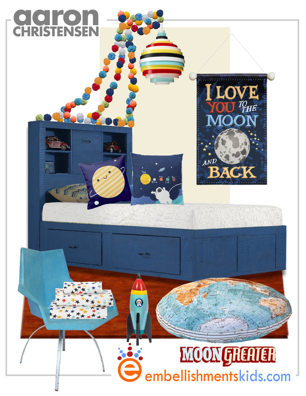 Inspiration and Ideas for a Space themed boys room.  Featuring the I love you to the moon and back wall banner by Aaron Christensen