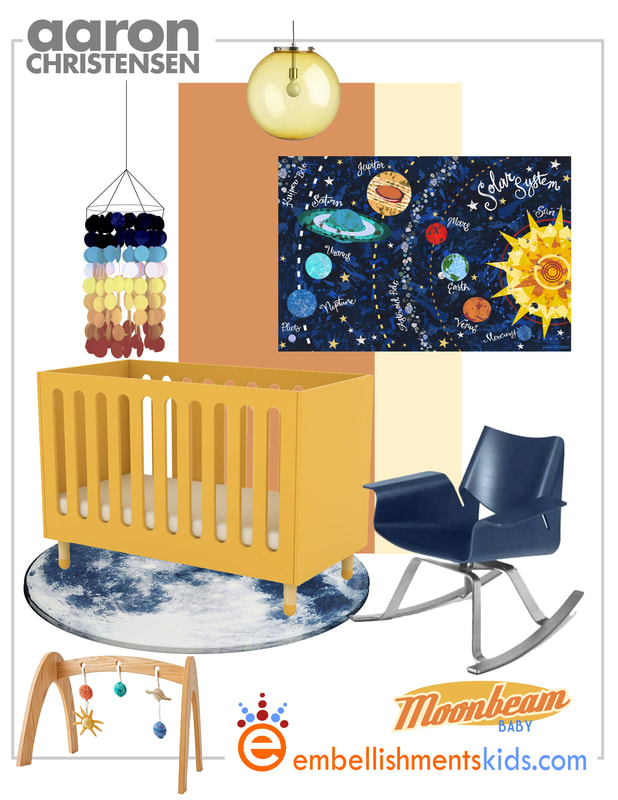 Space Themed Nursery Ideas Mood Board featuring art by Aaron Christensen, kids room designer.