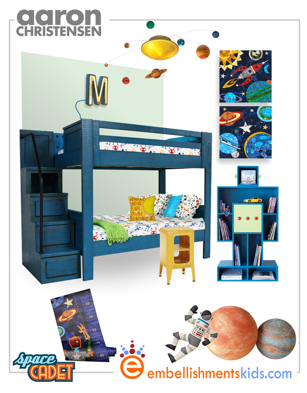 Create a boys room filled with space and solar system inspired decor.  The mood board features Aaron Christensen wall art available in canvases and prints.