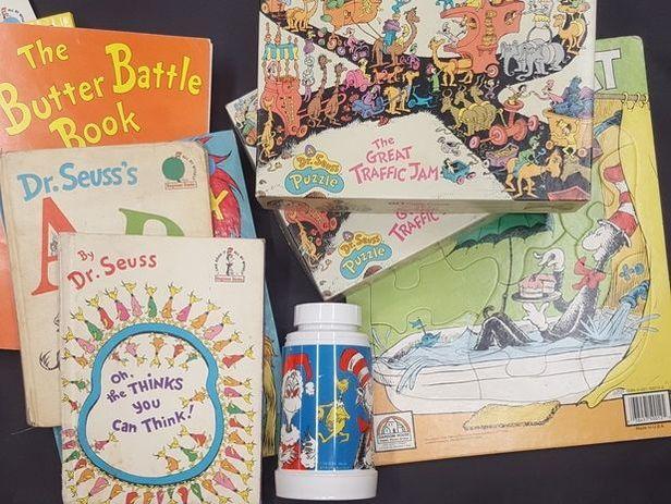 Dr. Seuss puzzles, memorabilia, books and thermos