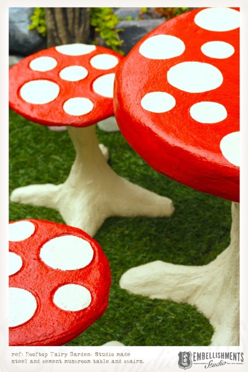 Outdoor cement mushroom table and stools by Aaron Christensen Embellishmentsstudio.com
