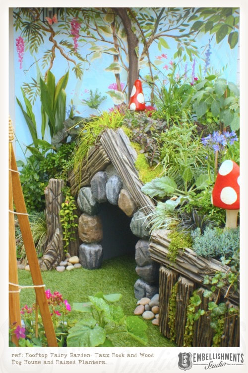 Living roof fairygarden doghouse hobbit hole for a NW rooftop garden.