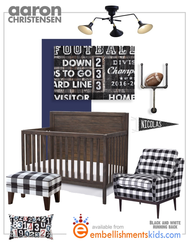 Football Sports Nursery featuring Gingham, a Scoreboard and design by Aaron Christensen