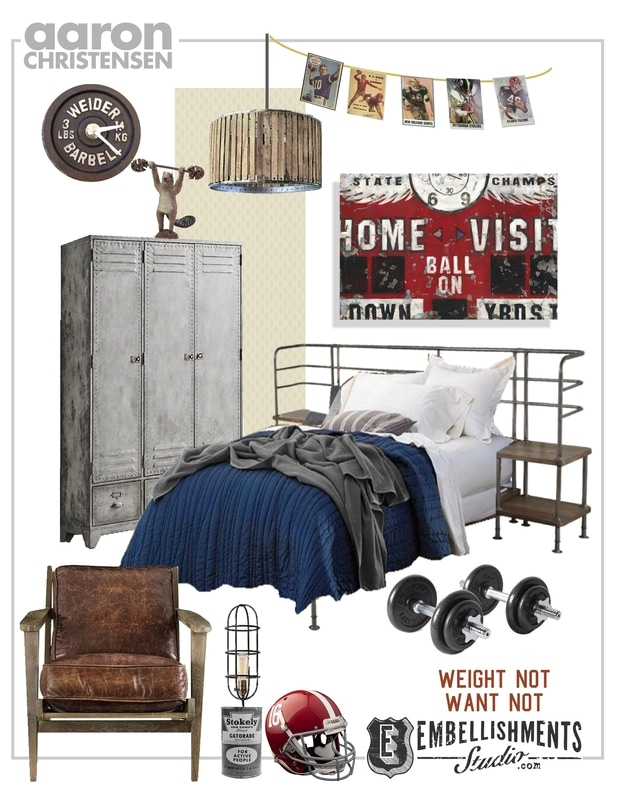Vintage Sports Football Boys Bedroom Ideas and Art Mood Board by Aaron Christensen