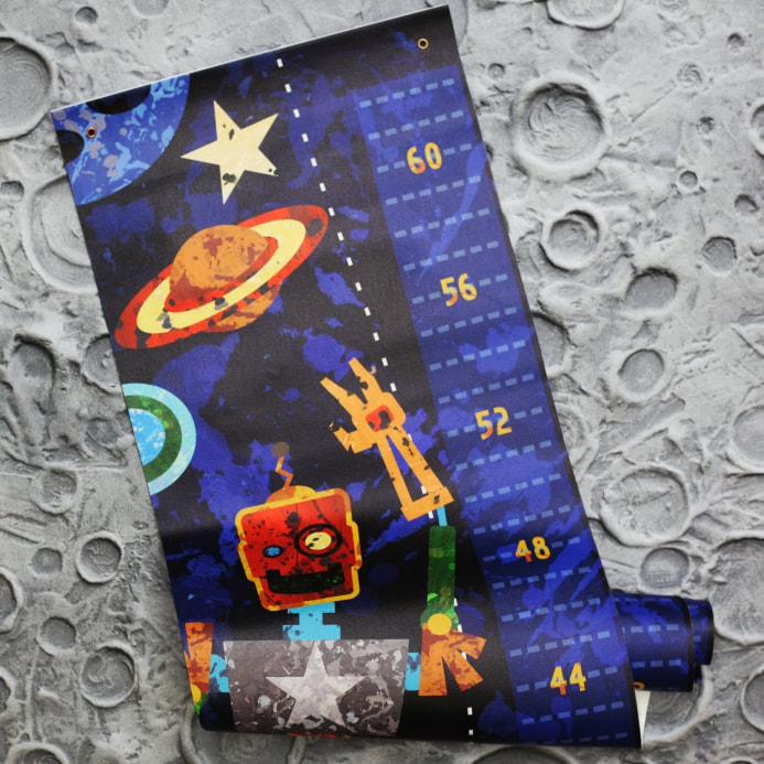 Boy Growth Chart in a space robot theme by Aaron Christensen - artist and kids space designer