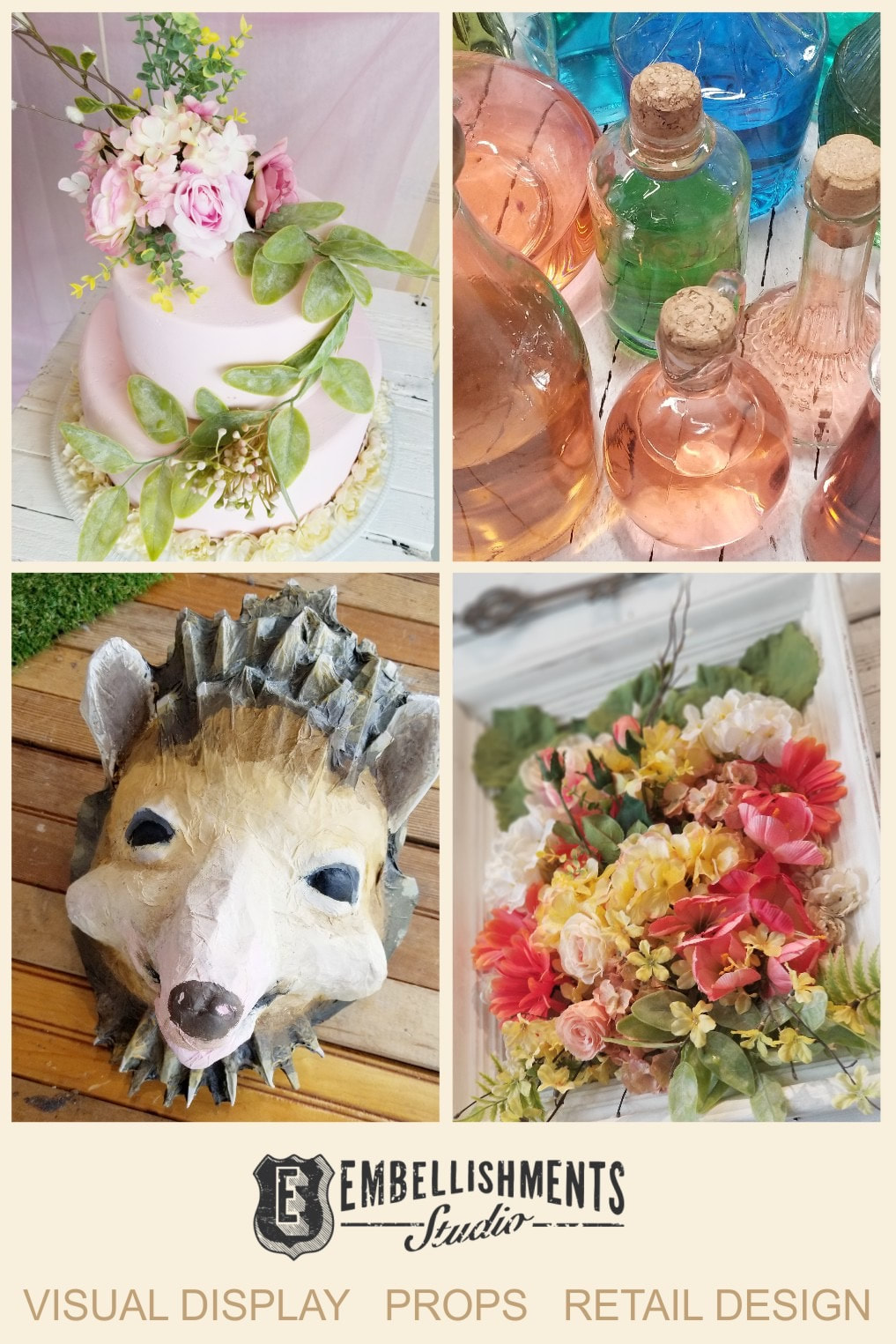 Wonderland Spring Garden Party Display featuring Eat Me, Drink Me props and paper mache animals masks by Aaron Christensen of Embellishments Studio