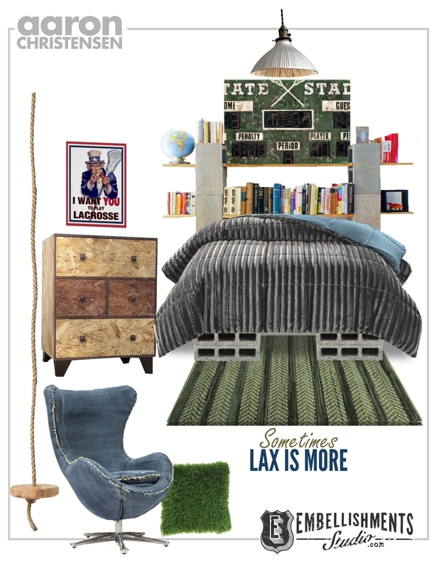 Vintage Sports Lacrosse Bedroom Ideas and Art Mood Board by Aaron Christensen