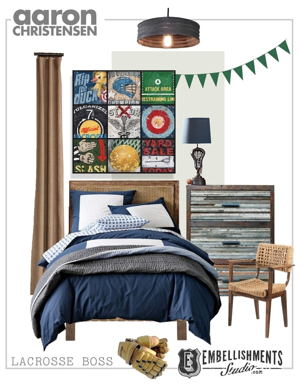 Lacrosse room ideas, inspiration for art and decor.  Perfect for the teen or boys room.