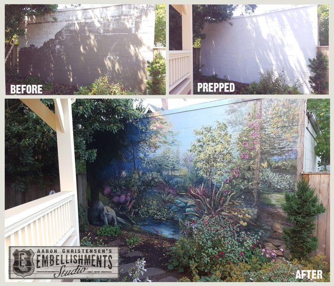 Garden mural to cover ugly exterior wall.  Handpainted by Aaron Christensen EmbellishmentsStudio.com