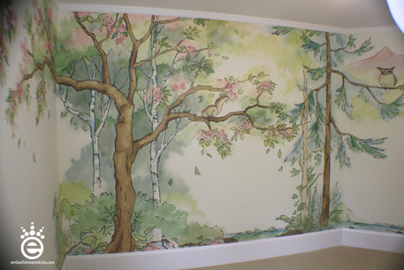 Baby Girls Nursery Mural featuring trees and forest handpainted by Aaron Christensen Embellishments Studio