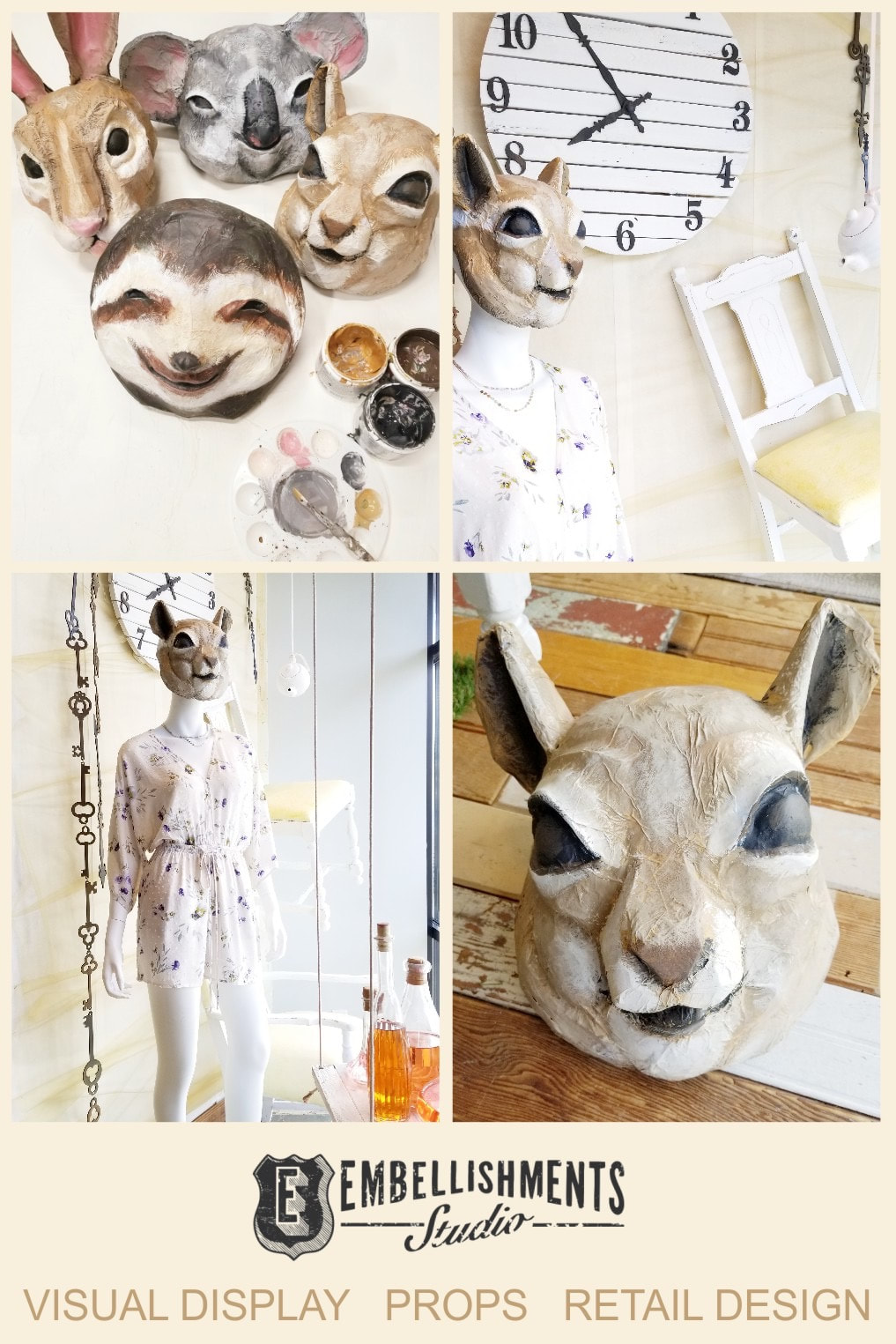 Wonderland Spring Store Display featuring a paper mache squirrel chipmunk and other animal masks by Embellishments Studio