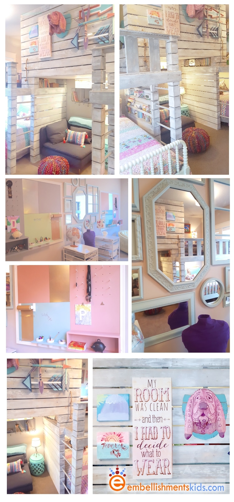 Shared bedroom for twin girls.  Loft, fort, reading nook with room for two double beds by Aaron Christensen Embellishmentskids.com