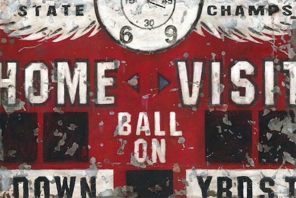 Vintage Sports Scoreboard Football Wall Art for boys, teens and home.
