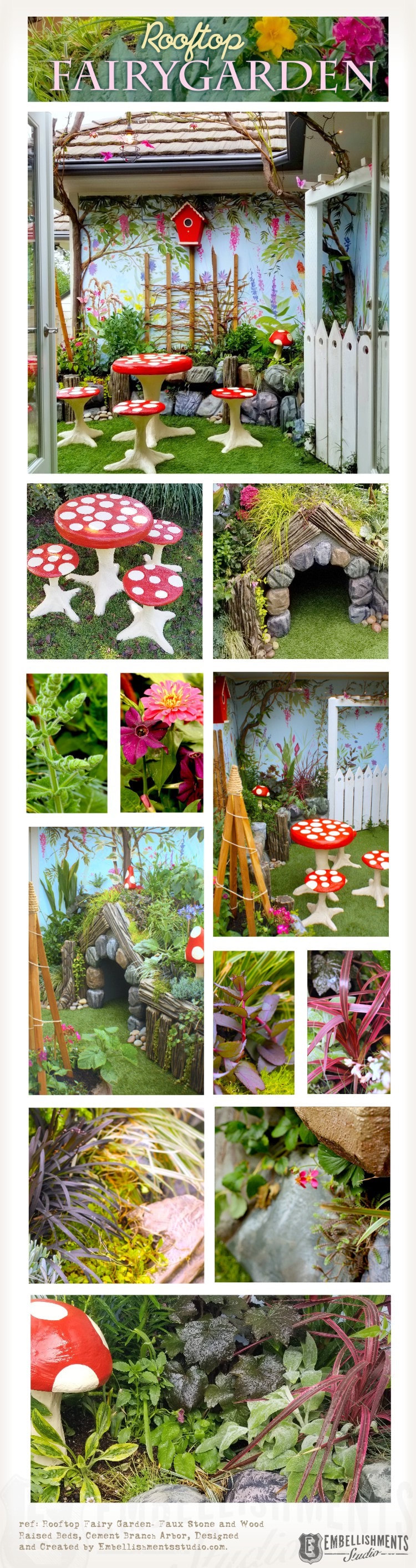 Rooftop Fairy Garden for Kids designed with Mushroom furniture, hobbit-hole doghouse and plenty of fairy and fauna luring plants.