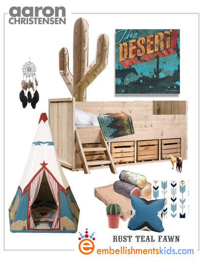 Create a perfect desert themed boys room featuring rustic furniture, bold patterns and art by Aaron Christensen.  Mood board for the Desert room.