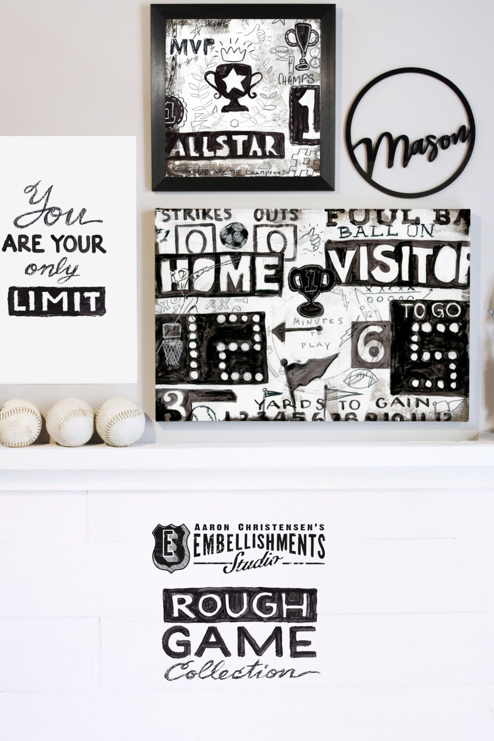 Rough Game Collection Sports Wall Art Decor for Boys and Teens