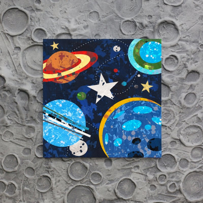 Looking for boys space decor, look no further than my Cosmos Collection that includes this Planet and Stars Canvas and Print