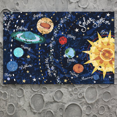 Astronomy and Celestial Art and Decor for boys that features the solar system, earth and the sun.