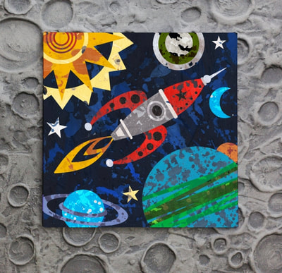 Fly to the moon and beyond with this wall art decor canvas and print by Aaron Christensen.  It's perfect for boys rooms and the nursery.