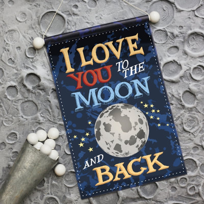 Boys room banner wall art in a space theme entitled I love you to the moon and back.