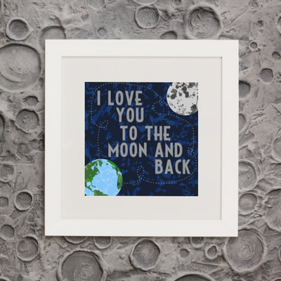 "Need nursery design ideas for boys in a space theme.  Look no further than my Cosmos Collection featuring this framed print ""I love you to the moon and back""."