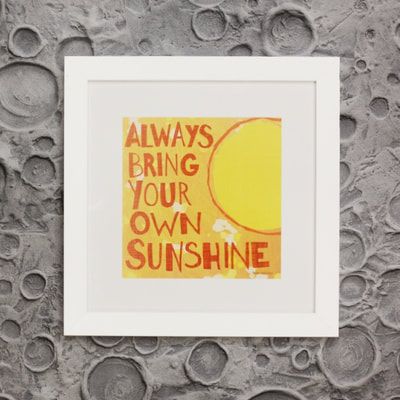 "Inspirational wall art and decor "" Always bring your own Sunshine"" framed boys room and nursery art by Aaron Christensen"