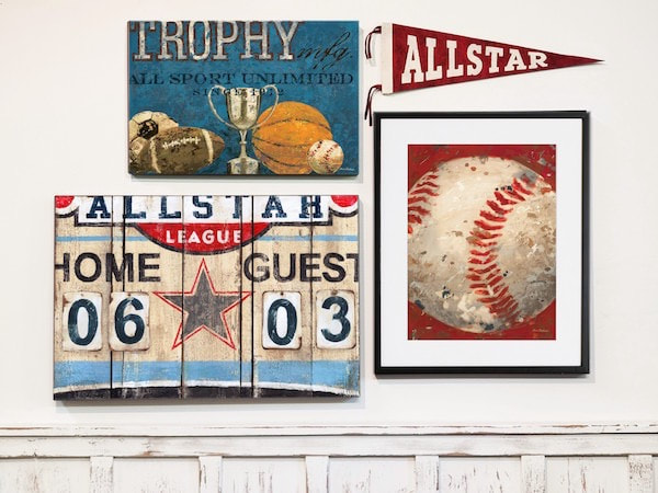 Allstar Wall Art Decor Collection by Aaron Christensen.  Scoreboard, Sports Art, Pennants and Framed Prints and Canvas.