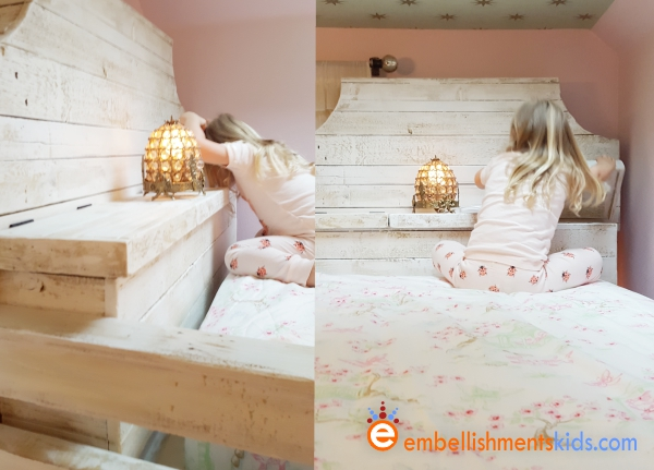 The custom loft bed offers two secret storage area.  The bed is by Embellishments Kids, the studio of Aaron Christensen
