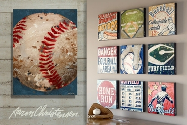 sell vintage sports art in baseball theme