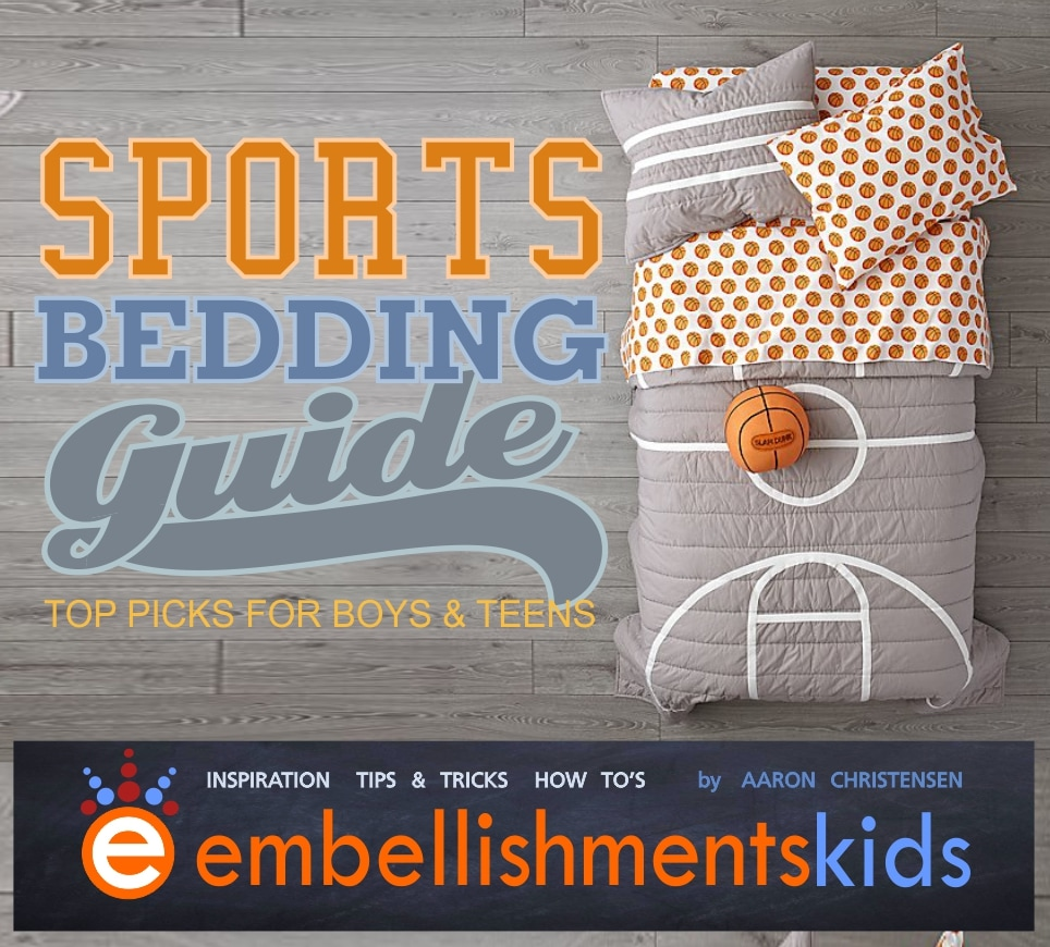 Boys Room and Teen Room Sports Bedding Ideas and Inspiration by designer Aaron Christsensen of EmbellishmentsKids.com.